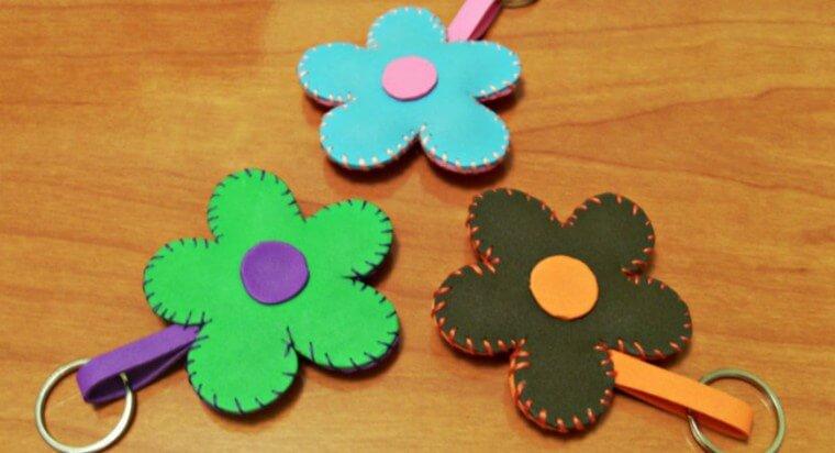 Chaveiros de flores de EVA