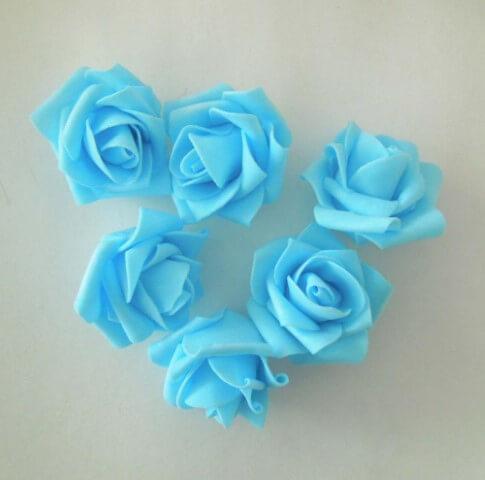 Mini rosas de EVA azuis