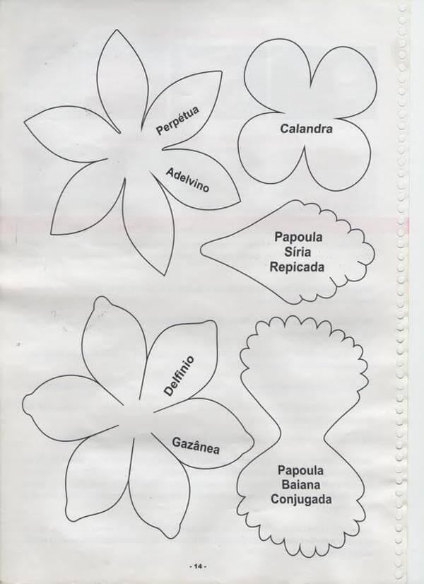 Moldes diversos para flores de EVA