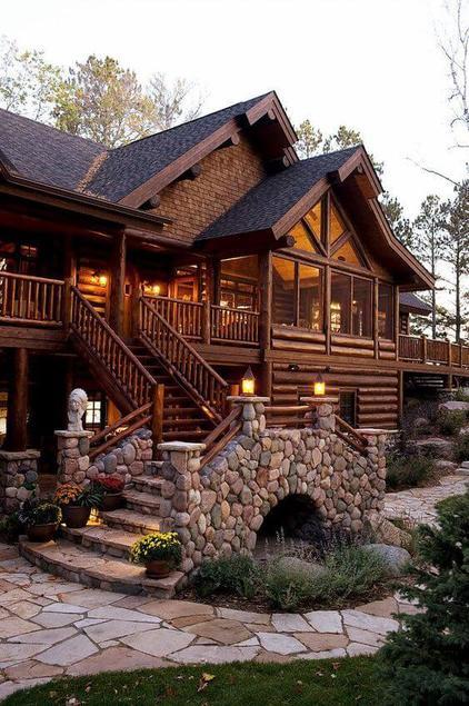 casas de madeira - casa de madeira com escada de pedra