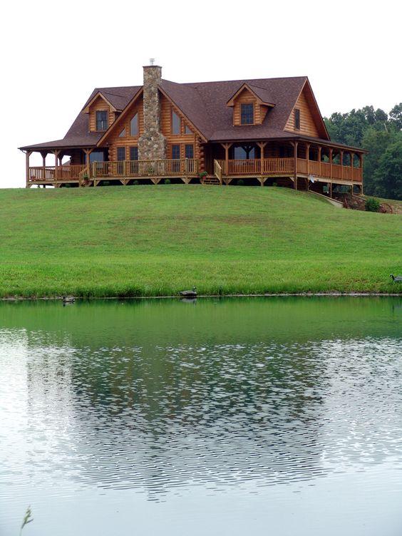 casas de madeira - casa de madeira com lago