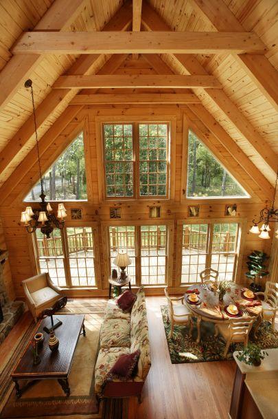 casas de madeira - casa de madeira com pé direito alto