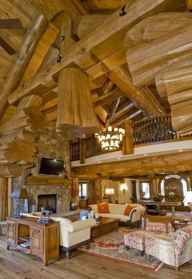 casas de madeira - casa de madeira com teto de troncos