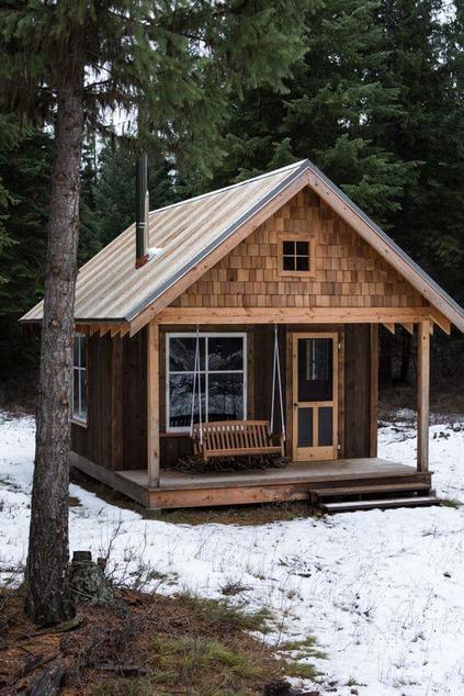 casas de madeira - casa de madeira em neve