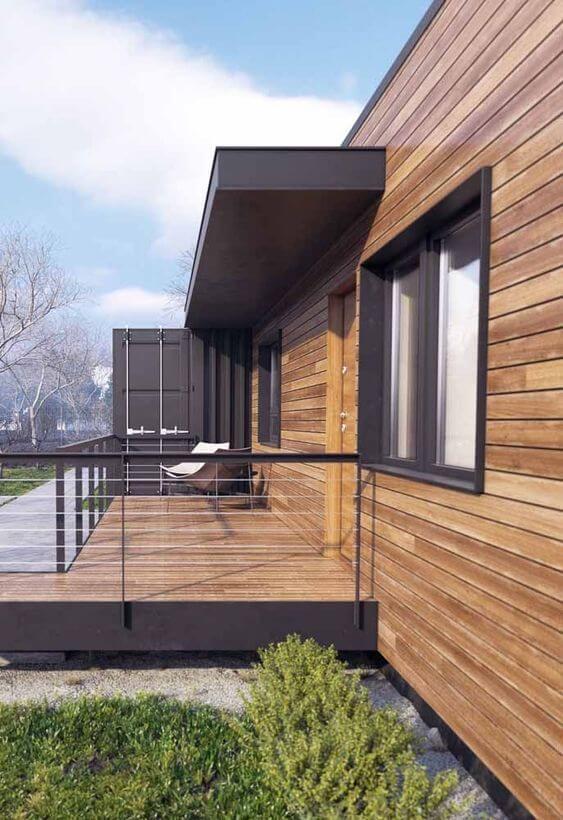 casas de madeira - lateral de casa de madeira