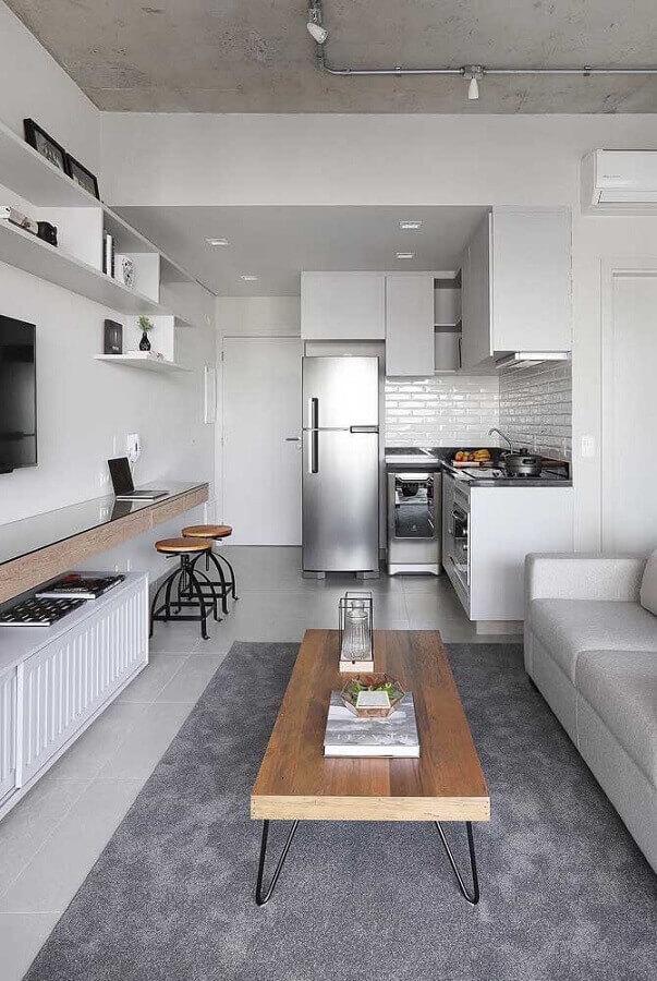 conceito aberto sala e cozinha pequenas decoradas em tons de cinza Foto Pinterest