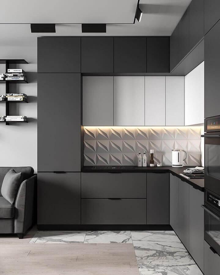 cozinha em conceito aberto com armário preto planejado Foto Pinterest