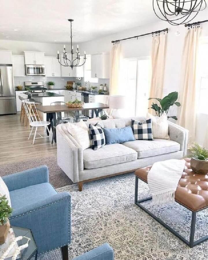 decoração clean para sala e cozinha conceito aberto pequenas Foto Article