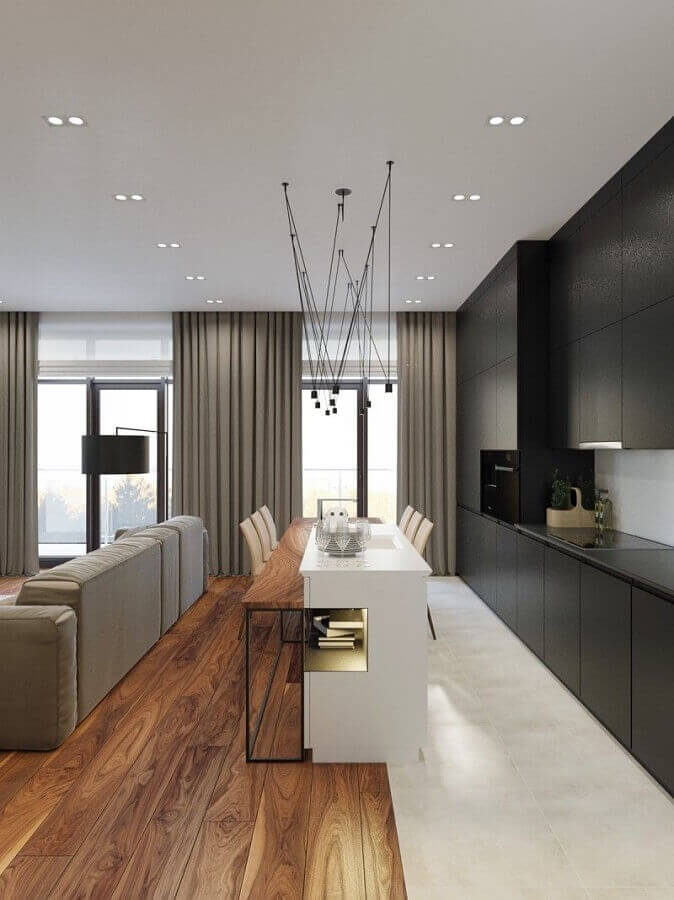 decoração com pisos diferentes para sala e cozinha conceito aberto Foto Behance
