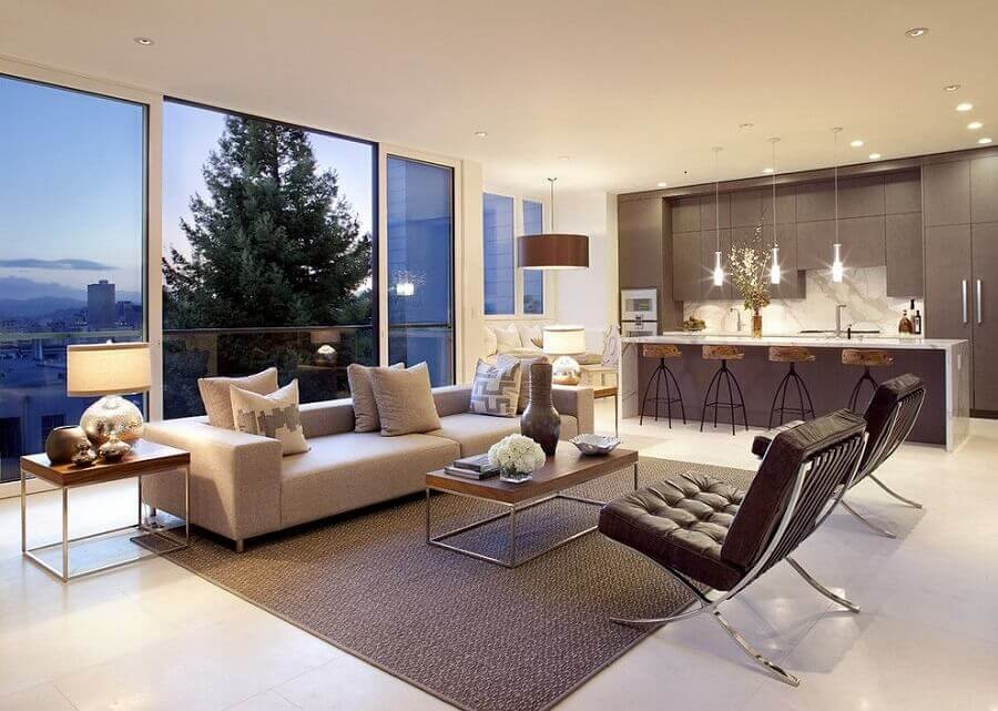 decoração em cores neutras para sala e cozinha conceito aberto Foto Decostore