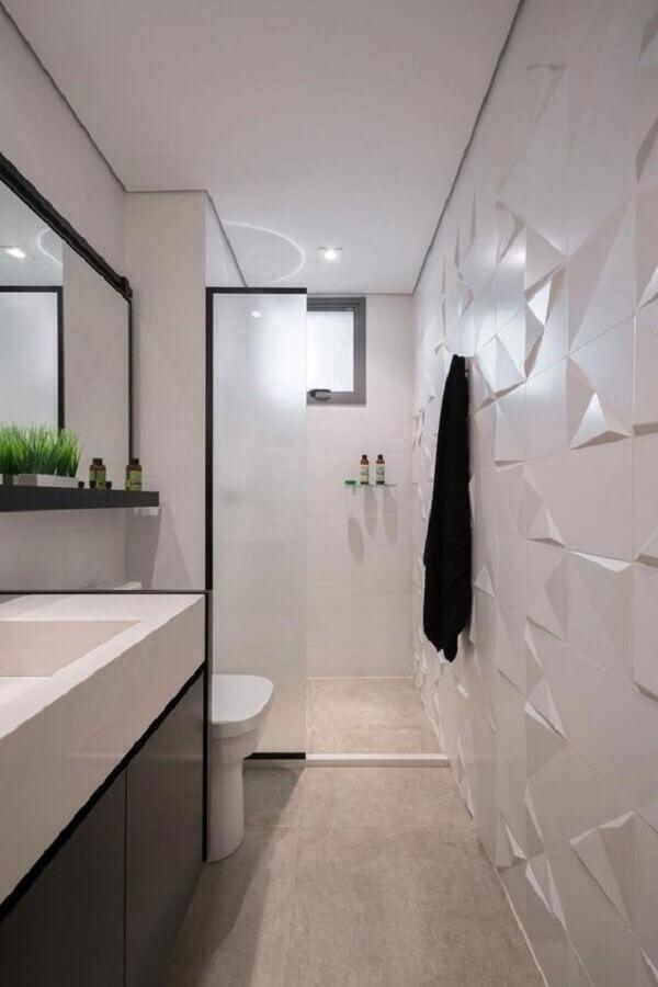 decoração moderna para banheiro branco e cinza com revestimento 3d Foto Revestindo Casa
