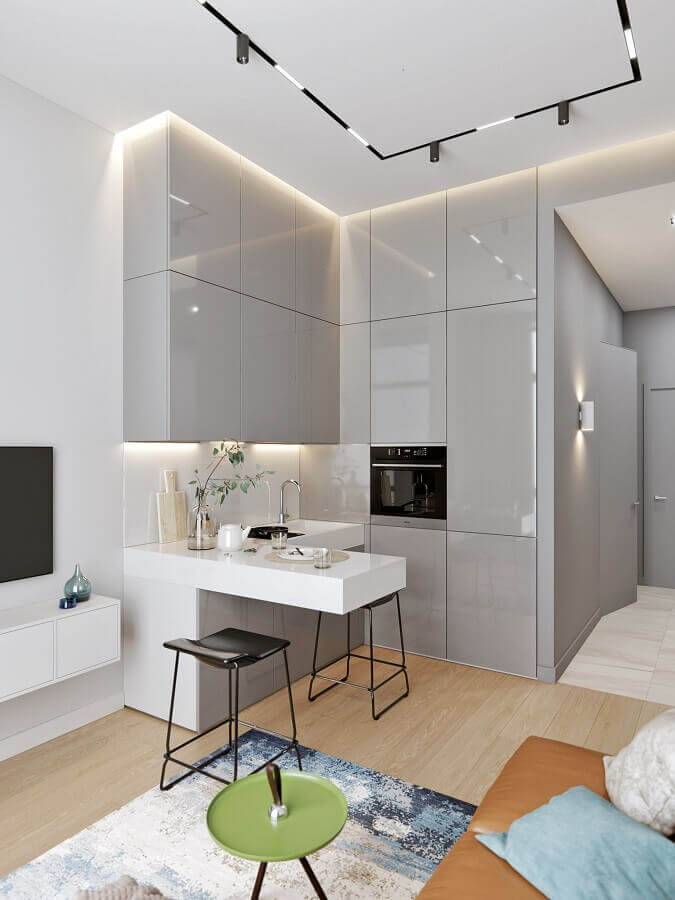 decoração moderna para conceito aberto sala e cozinha pequena Foto Behance