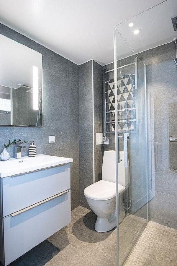 decoração para banheiro branco e cinza Foto Planete-Deco