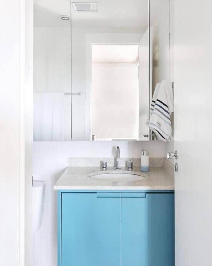 gabinete pequeno azul para decoração de banheiro branco Foto Pinterest