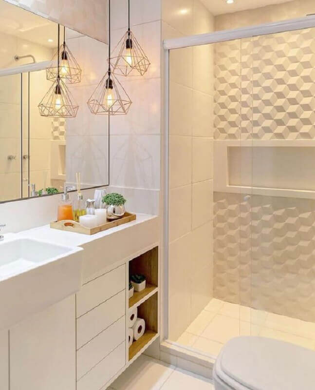 revestimento 3d para banheiro branco planejado Foto Pinterest