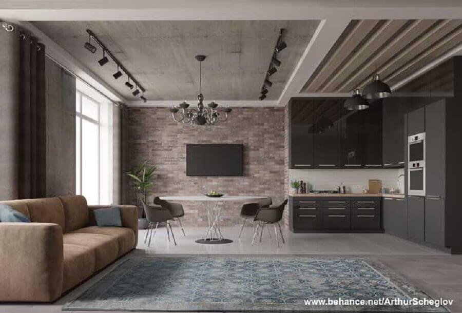 sala e cozinha conceito aberto com armário planejado preto Foto Behance