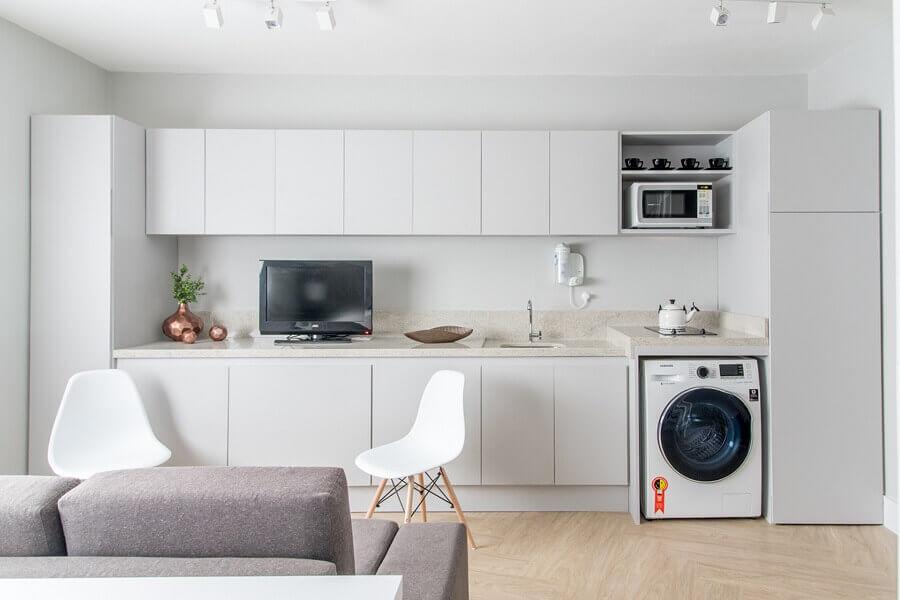 sala e cozinha conceito aberto planejadas Foto Renata Romeiro