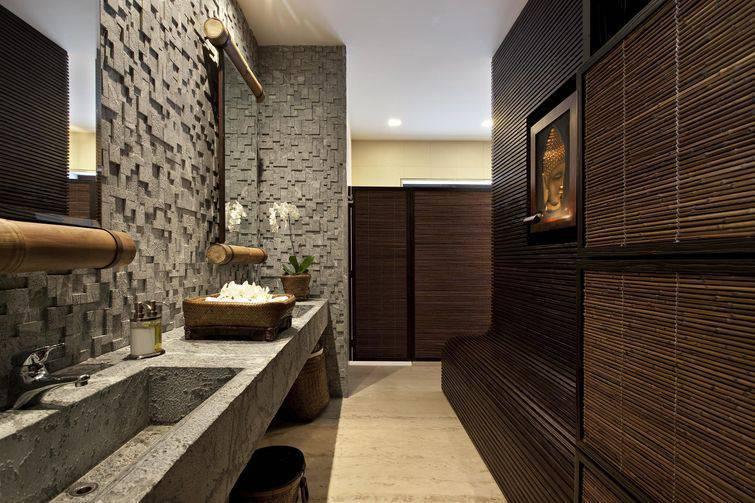 Cuba para banheiro esculpida na própria bancada de cimento
