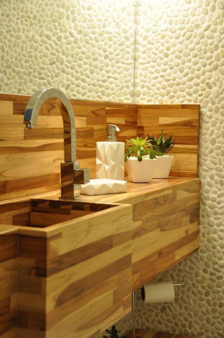 Cuba para banheiro feita com madeira