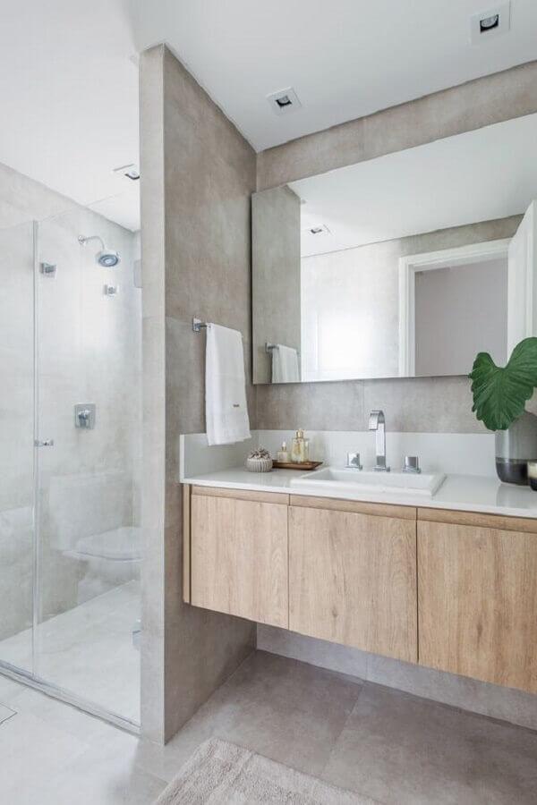 bancada de banheiro com armário de madeira Foto D2N Arquitetura Interiores