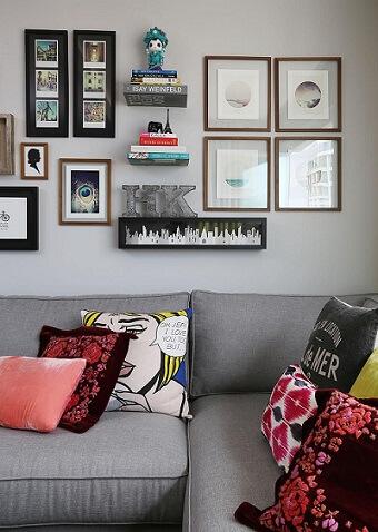 Almofadas decorativas com estampas variadas Projeto de Mandril Arquitetura