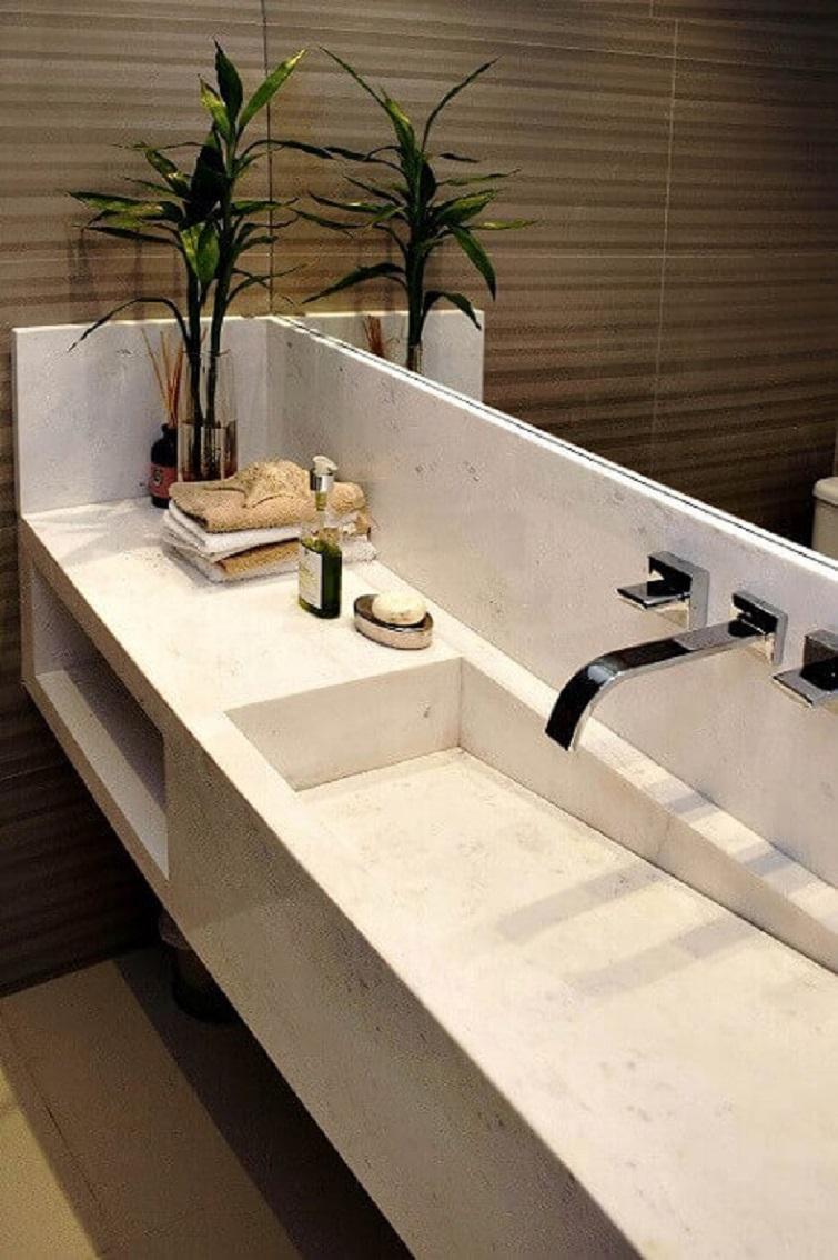Elegante cuba para banheiro esculpida em mármore