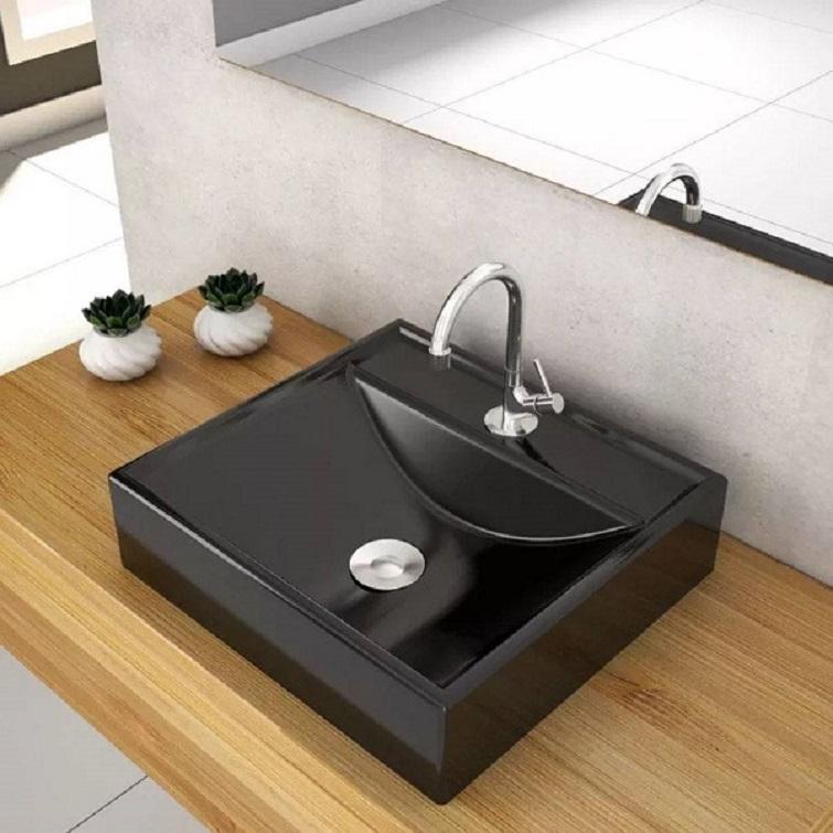 Cuba para banheiro quadrada na cor preta
