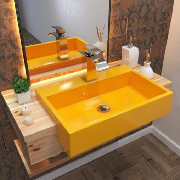 Modelo de cuba para banheiro de semi embutir colorida