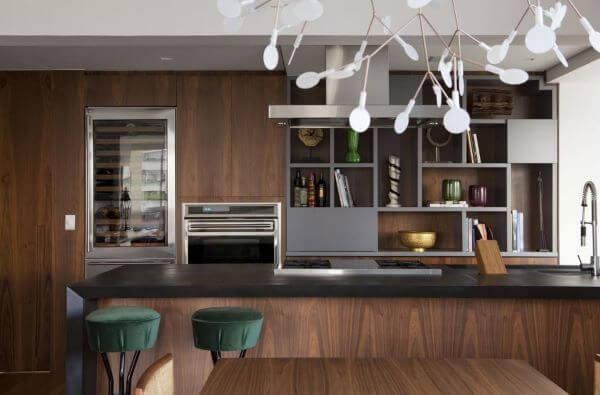 Armário de cozinha americana em madeira