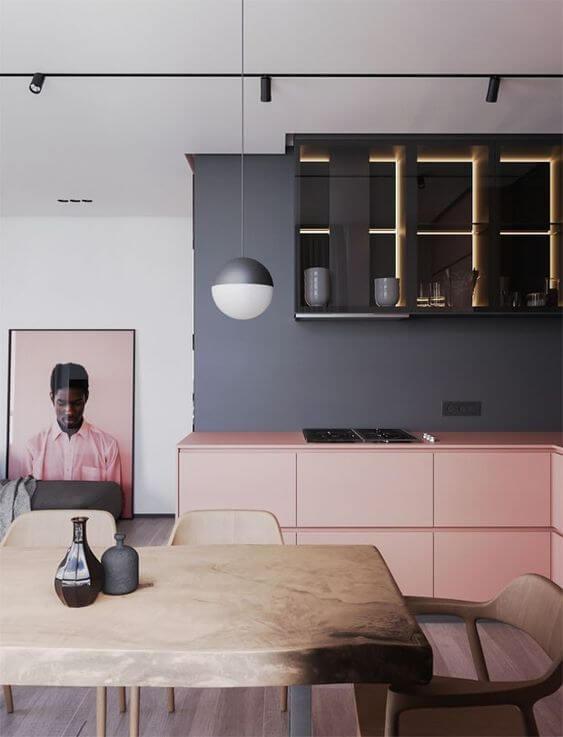 Armário de cozinha cinza e rosa