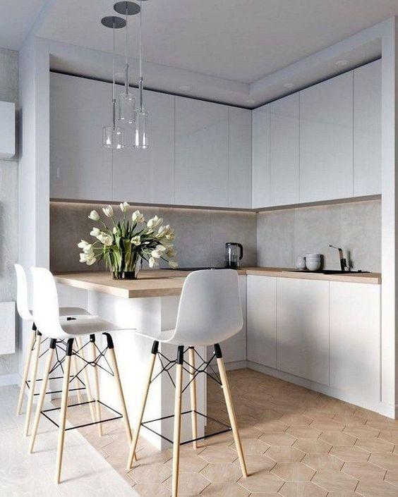 Armário de canto cozinha branca e clean