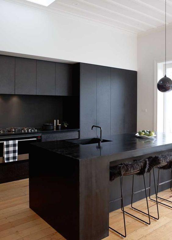 Armário de cozinha preta e moderna