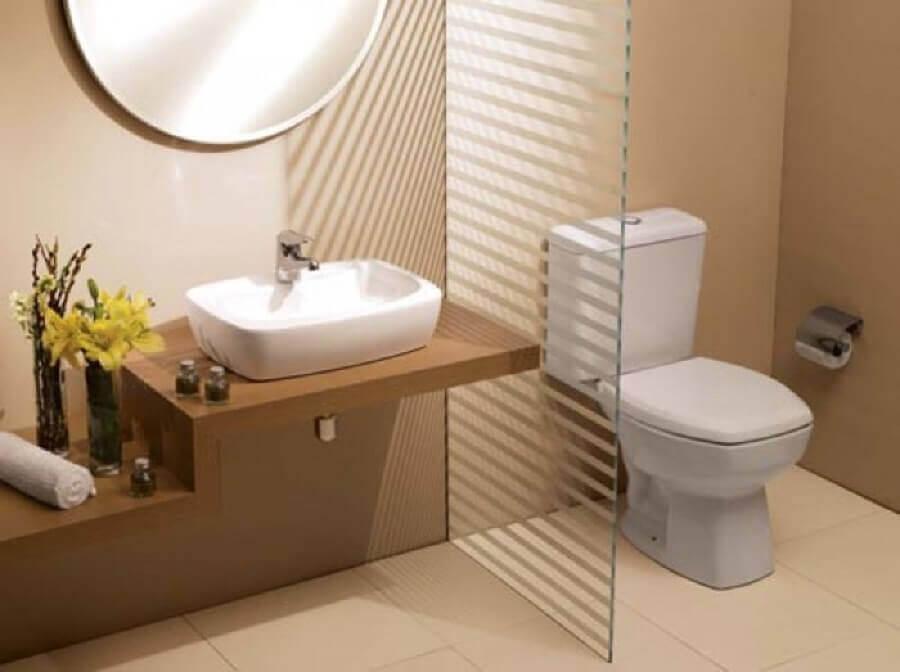 bancada de madeira para banheiro com cuba de porcelanato Foto EF Arte & Design