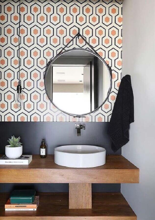 bancada de madeira para banheiro com cuba de porcelanato redonda Foto Pinterest