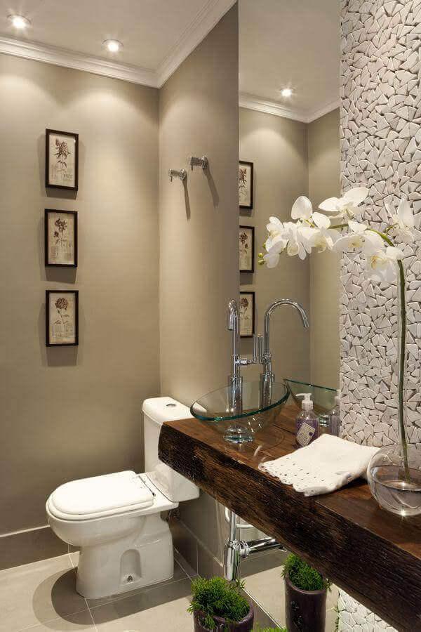 bancada de madeira para banheiro com cuba de vidro Foto Architecture Beast
