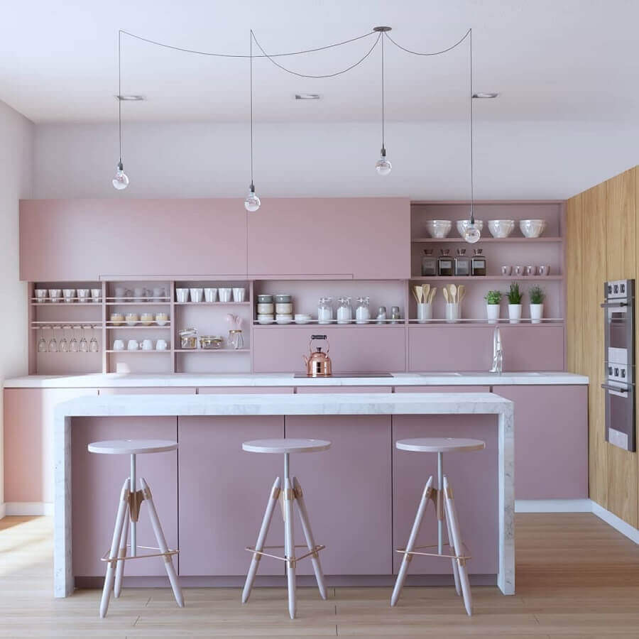 cozinha planejada com ilha em rosa pastel Foto Ann Arquitetura