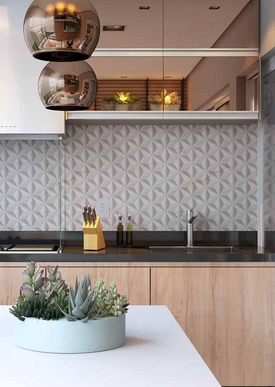 Cozinha com móveis em rose gold