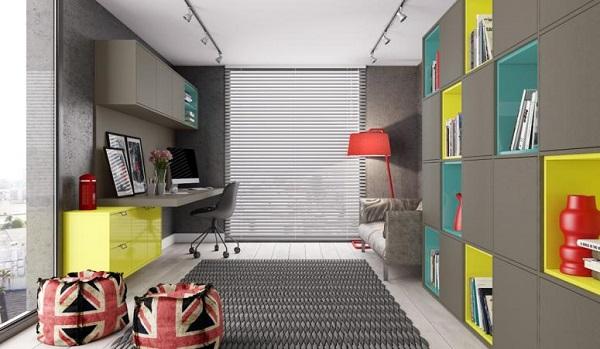 Modelo de escritório planejado com cores vibrantes e descontraídas