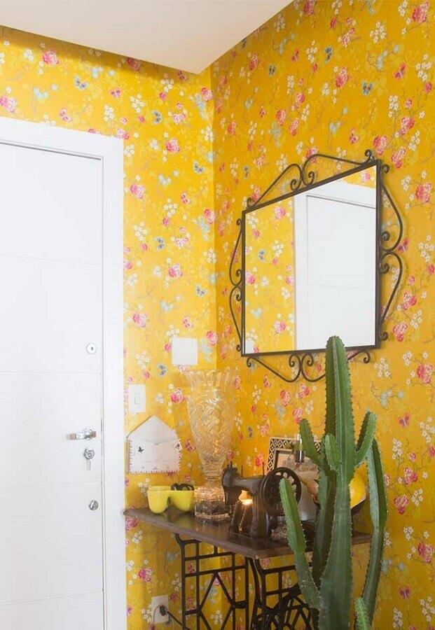 papel de parede amarelo com flores  Foto Yandex