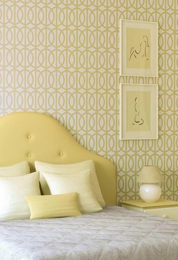 quarto de casal decorado em tons de amarelo claro Foto Pinterest
