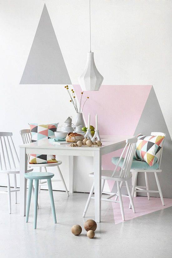 tons pasteis sala de estar parede geometrica
