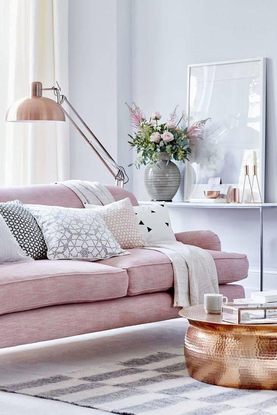 tons pasteis sala de estar sofa rosa