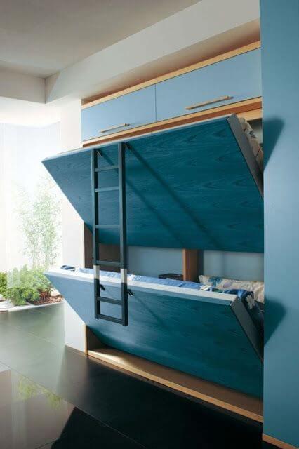 Beliche com cama reclinável para quarto compartilhado, super prática