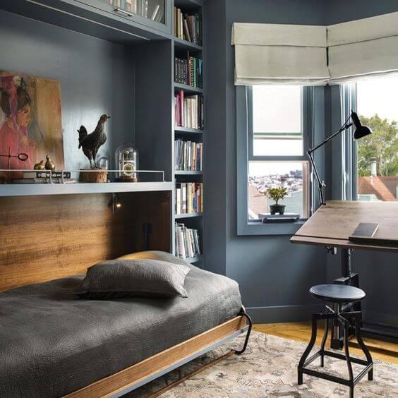 Cama retrátil cinza para quarto de solteiro