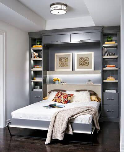 Faça móveis planejados para ter uma cama casal retrátil prática no seu ambiente