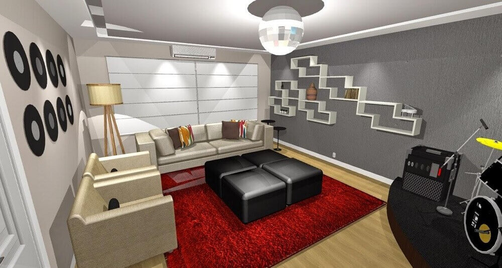 decoração de sala com nichos diferentes