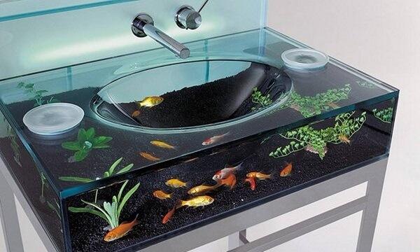 pia de banheiro de vidro aquário