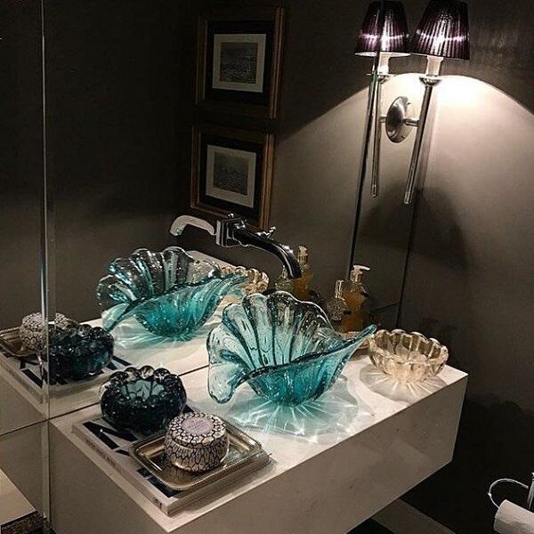 pia de banheiro de vidro cuba azul