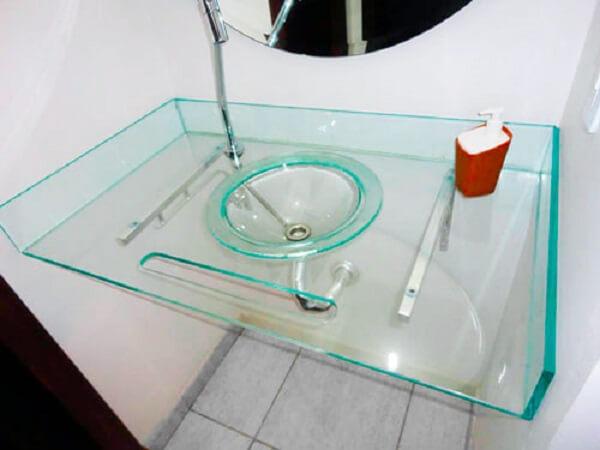 pia de banheiro de vidro cuba e gabinete de vidro
