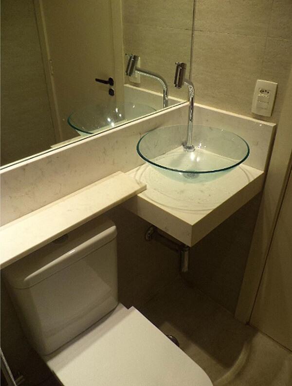 pia de banheiro de vidro de canto